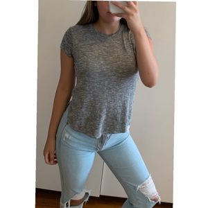 Grey Cropped Shirt